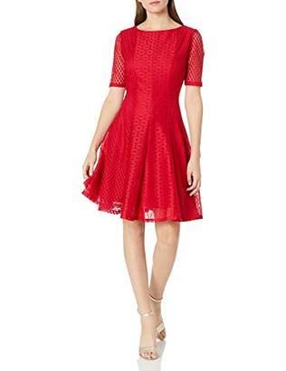 Gabby Skye Women's Elbow Sleeve Round Neck Flower Lace Fit and Flare Dress