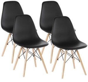 Bold Tones Mid-Century Modern Style Plastic Shell Dining Chair with Solid Beech Wooden Dowel Eiffel Legs, Set of 4