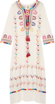 Figue Heidi Tasseled Embroidered Silk-georgette Dress - White