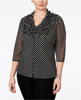 INC International Concepts Plus Size Ruffled Polka-Dot Blouse, Only at Macy's