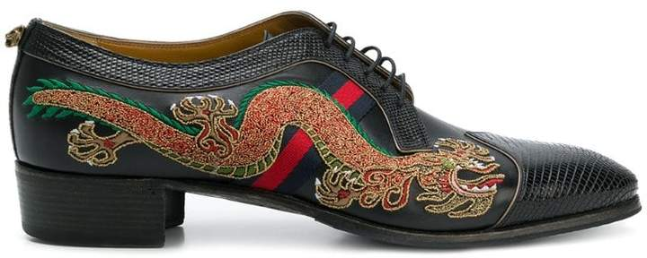 Gucci dragon-embroidered lace-up shoes