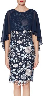 Gina Bacconi Jacquelin Dress And Chiffon Cape, Blue/Pink