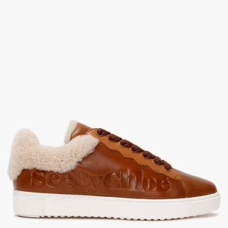 See by Chloe Essie Tan Lace Up Trainers