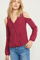 Dynamite Wrap Cold Shoulder Blouse