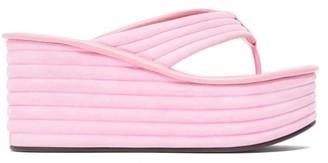 Fendi Promenade Quilted Suede Platform Sandals - Womens - Pink