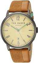Ted Baker Men's 'DANIEL' Quartz Stainless Steel and Leather Dress Watch, Color:Brown