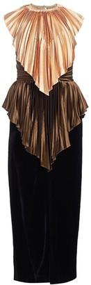 Gucci Metallic Plisse & Velvet Wool Column Gown