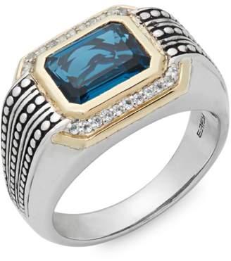 Effy Light Blue Topaz, White Topaz, 925 Sterling Silver and 14K Yellow Gold Ring