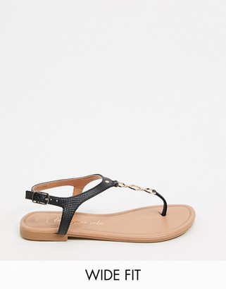 New Look Wide Fit chain detail flat sandals in black