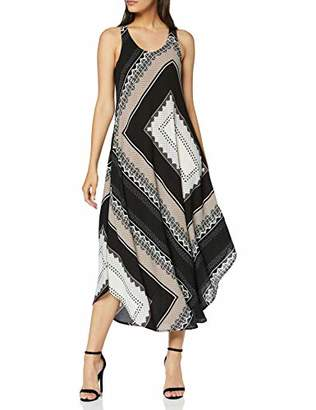 Dorothy Perkins Women's Short Sleeve Crew Neck Scarf Print Column Maxi Dress,(Size:)