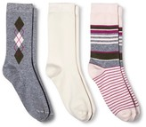 Merona Women's Crew Socks 3-Pack Argyle Heather Gray One Size