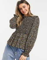 Thumbnail for your product : New Look shirred long sleeve blouse in black ditsy floral