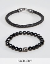 Simon Carter Leather And Onyx Beaded Bracelet Set With Antiqued Skull Exclusive To ASOS