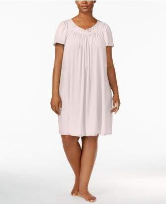 Miss Elaine Plus Size Tricot Flutter Sleeve Short Gown