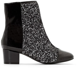 La Redoute Collections Patent and Sparkly Dual Fabric Ankle Boots