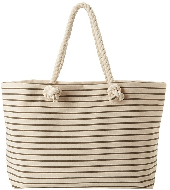 Hat Attack Stripe Tote with Rope Handles Zip Out Tablet Case (Grey Stripe) - Bags and Luggage