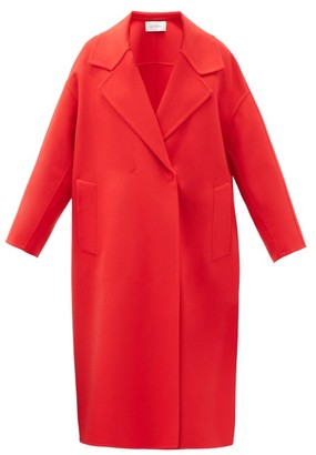 Valentino Dropped-shoulder Wool-blend Double-breasted Coat - Red