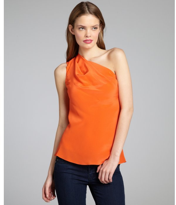 Jay Godfrey coral silk pleated one shoulder blouse