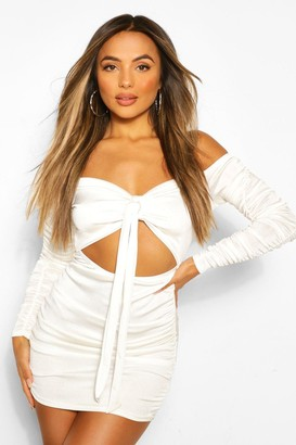 boohoo Petite Off The Shoulder Tie Front Bodycon Dress