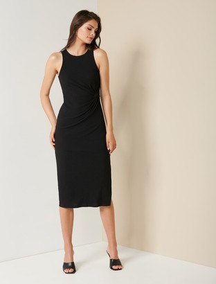 Forever New Nicola Racer-Back Jersey Midi Dress - Black - 10