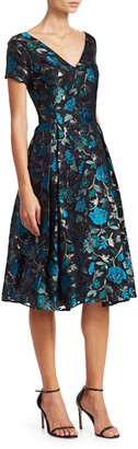 Zac Posen V-Neck Floral Cocktail Dress