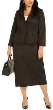 Le Suit Plus Size Shimmering Two-Button Notched-Collar Skirt Suit