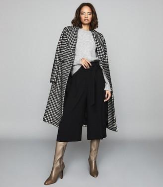 Reiss LARK Cropped brush-knit jumper Grey