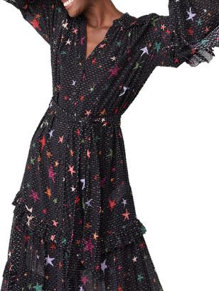 Farm Rio Night Sky Ruffle Maxi Dress