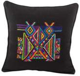 Multi Color Maya Eagle on Black Cotton Square Cushion Cover, 'Feathered Dancers'