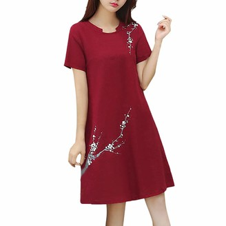 Arestory Women's Vintage Dress Floral Printed Cotton Linen Loose Casual Dress Round Neck Short Sleeve Princess Dress Loose Fited Tunic T-Shirt Dress Ladies Oversized Blouses Baggy Swing Dresses Red