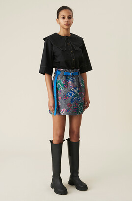 Ganni Crinkled Jacquard High-Rise Paper-Bag Mini Skirt