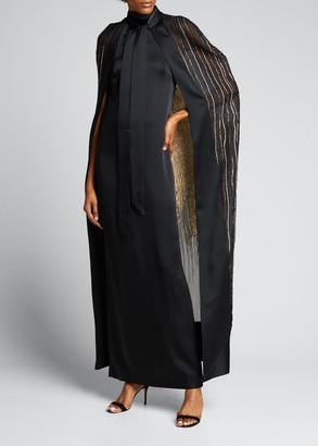 Taller Marmo Dea Cape Embroidered Maxi Dress