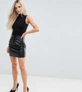 NaaNaa Petite Bodycon Mini Skirt In PU With Lace Up Detail