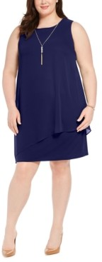JM Collection Petite Asymmetrical-Overlay Necklace Dress, Created for Macy's