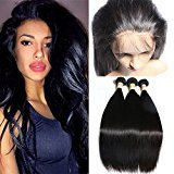 Connie Hair 360 Lace Frontal with Bundles Straight Peruvian Virgin Human Hair Weaves 3 Bundles with 360 Lace Frontal Closure (16 18 20inch & 14inch)