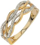 Ice Diamond Wave Band in 10kt Two Tone Gold