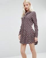 Brave Soul Drop Hem Tile Print Shirt Dress