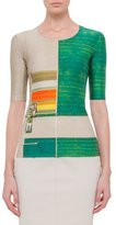 Akris Half-Sleeve Farm-Print T-Shirt, Multi Colors