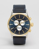 Nixon Sentry Chronograph Watch In Leather