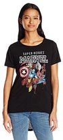 Marvel Junior's Superheroes Group Shot High Low Drapey Graphic T-Shirt