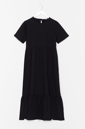 Nasty Gal Womens These are Real Tiers Midi Tee Dress - Black - S