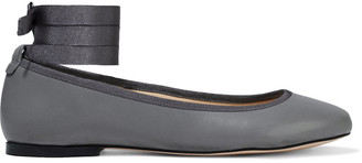 French Sole Margot Grosgrain-trimmed Leather Ballet Flats