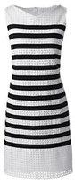 Lands' End Women's Petite Sleeveless Shift Dress-White Ribbon