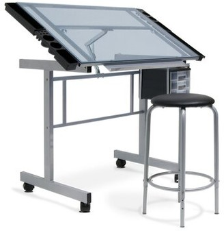 Studio Designs Vision Drafting Table and Stool Color: Silver