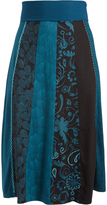 Aller Simplement Black & Teal Floral Stripe Band-Waist Skirt