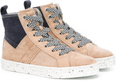 Hogan lace-up hi-top sneakers - kids - Leather/Suede/rubber - 28