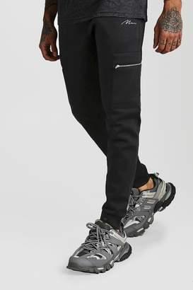 BoohoomanBoohooMAN Mens Black MAN Signature Scuba Cargo Jogger With Zip Pocket, Black