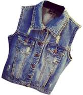 Partiss Women's Vintage Plus Size Jeans Vest Jacket,Chinese 4XL