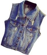 Partiss Women's Vintage Plus Size Jeans Vest Jacket,Chinese XL