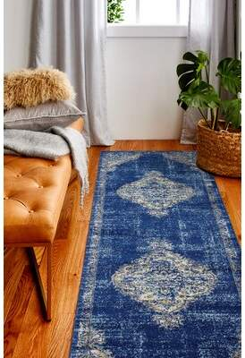 """Chupp Ivory/Blue/Yellow Area Rug World Menagerie Rug Size: Runner 2'6"""" x 8'"""